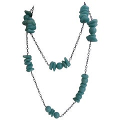 Rhodium Oxidized Silver Chain Amazonite Long Gemstone Necklace