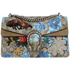 Gucci Blue/Taupe Embroidered GG Supreme Monogram Blooms Small Dionysus Bag