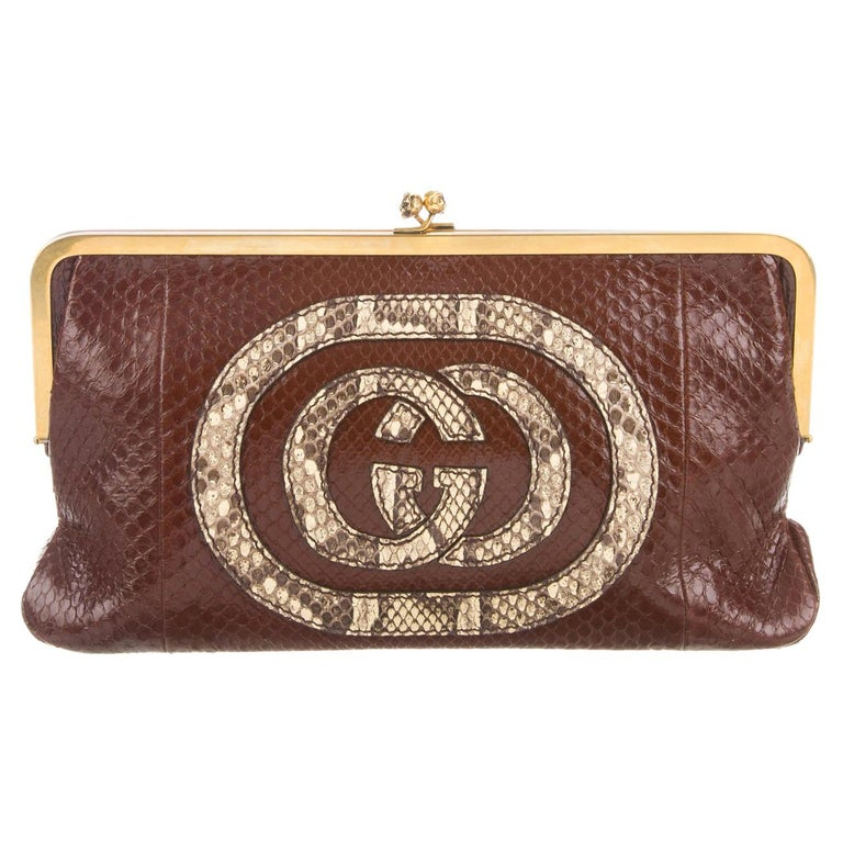 9f772748126 Gucci NEW Brown Nude Snakeskin GG Logo Gold KissLock Evening Clutch Bag For  Sale