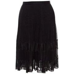 Oscar de la Renta Black Pleated Silk Lace Insert Skirt L