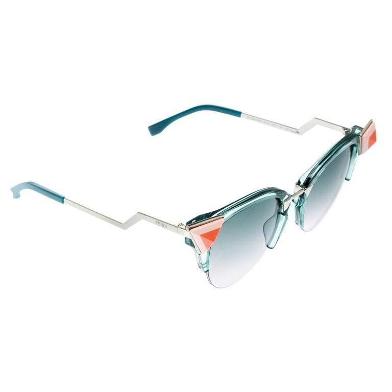 b5c36cdaa0c8b Fendi Sea Green   Bicolor Gradient FF 0041 N S Cat Eye Sunglasses ...