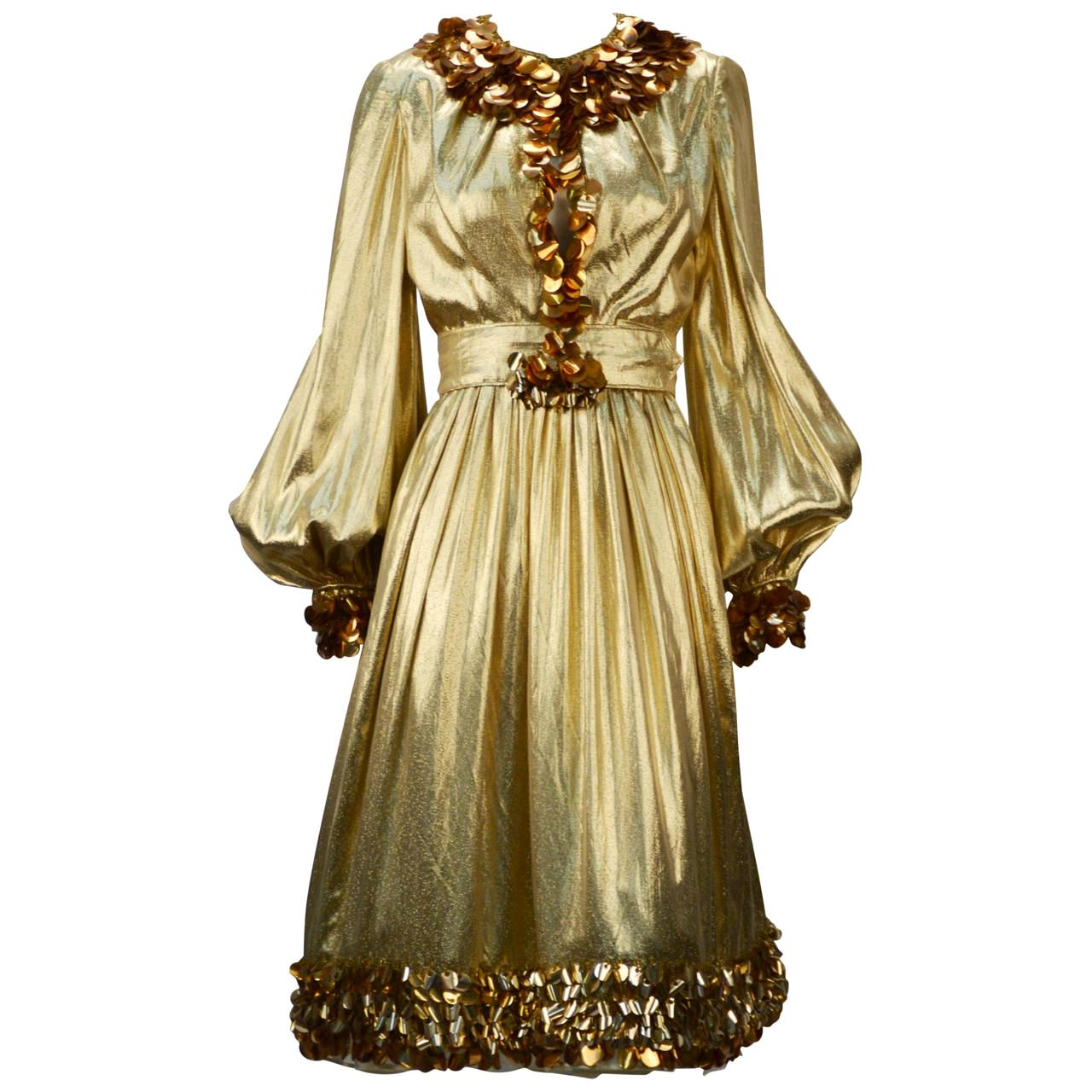 1960s Donald Brooks Gold Metallic Evening Dress with Sequin and Beaded Trim
