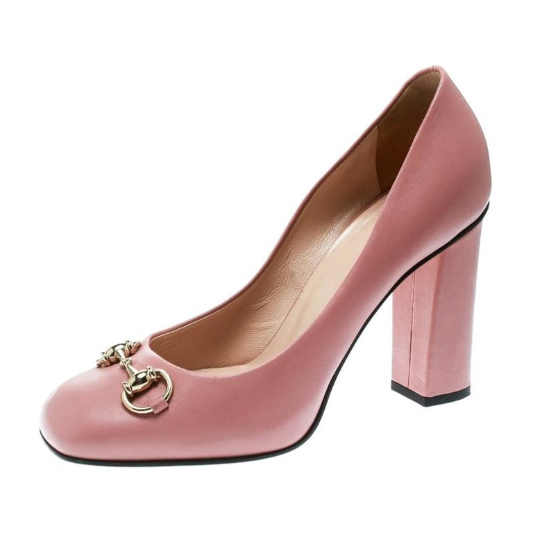 3b04d821737 Gucci Pink Leather Horsebit Block Heel Pumps Size 37.5 For Sale at ...