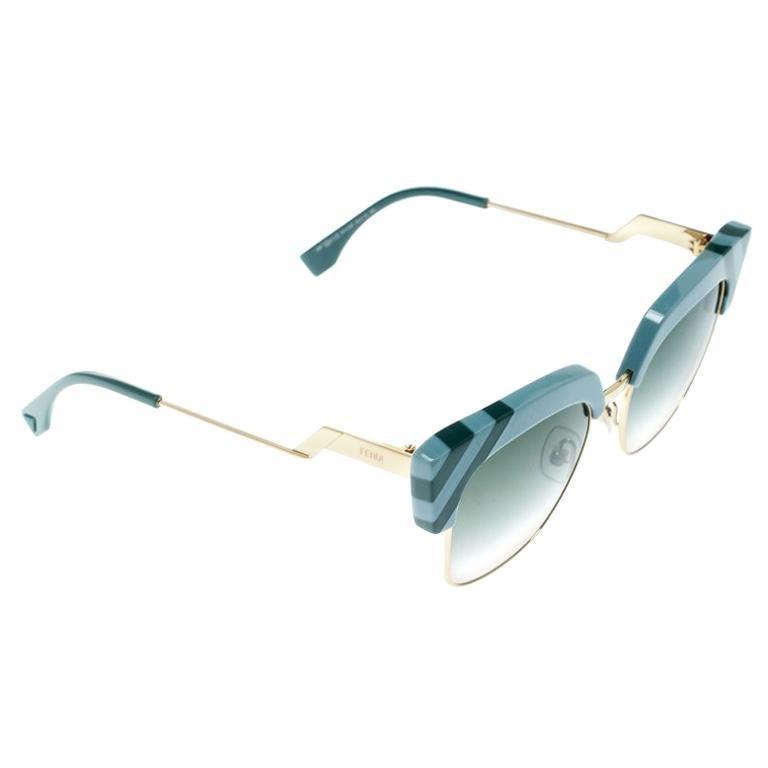 602b36d3ec Fendi Azure Blue  Green Gradient FF 0241 S Waves Square Sunglasses For Sale