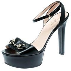 a5212ab6ca32 Gucci Black Leather Horsebit Peep Toe Platform Ankle Wrap Sandals Size 38