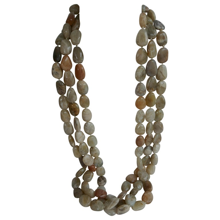 Three Strand Moonstone Nugget 925 Sterling Silver Gemstone Long Necklace For Sale
