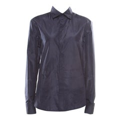 Dior Navy Blue Coated Silk Logo Embroidered Button Down Shirt M
