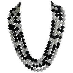 Matted Onyx White Shell Beads 925 Sterling Silver Long Necklace