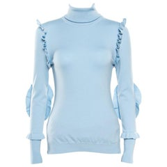 Fendi Powder Blue Cashmere Ruffled Elbow Patch Detail Turtleneck Pullover S