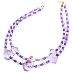Gemjunky Amethyst & Rose of France Amethyst Double Strand Campaign Necklace