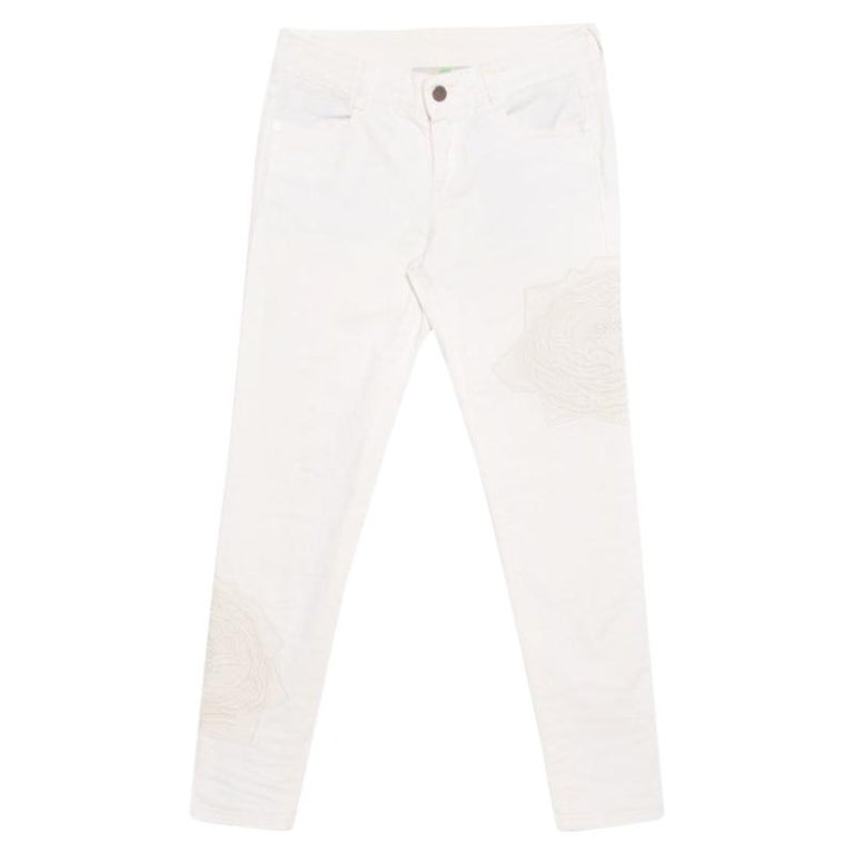 c8ee38b8f5dcf7 Stella McCartney White Cotton Stretch Rose Embroidered Applique Skinny Jeans  S For Sale