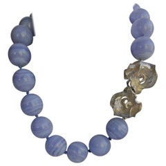 Blue Lace Agate 925 Exclusive Sterling Silver Clasp Gemstone Necklace
