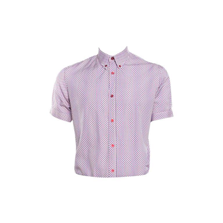 4411edd41e75c1 Alexander McQueen Mini Skull Print Striped Cotton Poplin Short Sleeve Shirt  M For Sale