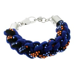 Dsquared2 Blue Interlocking Suede Crystal Chunky Bracelet