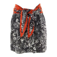 Isabel Marant Black and Red Eyelet Embroidered Tie Up Detail Pleated Skirt S
