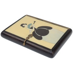 Vintage Art Deco Small Lacquered Wood Box With Stylized Lady