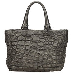 Prada Gray Others Leather Embossed Shoulder Bag Italy w/ Dust Bag