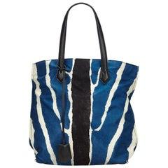 Fendi Blue  with Black Nylon Fabric Zebra Print Tote Bag Italy w/ Dust Bag