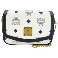 MCM Monogram Visetos Chain Flap 867535 White Coated Canvas Cross Body Bag
