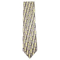 Ermenegildo Zegna Grey Yellow White Printed Silk Tie Eztty21