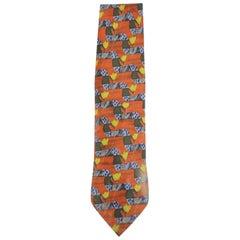 Ermenegildo Zegna Orange Blue Green Patterned Silk Tie Eztty18