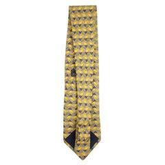 Ermenegildo Zegna Yellow Blue Printed Silk Tie Eztty13