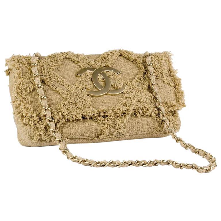 Chanel Small Sized Beige Tweed Fringe Organic Crochet Crossbody Flap Bag For Sale