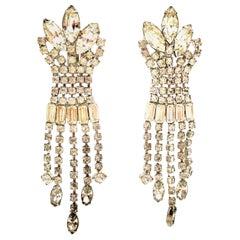 20th Century Weiss Style Silver & Swarovski Crystal Chandelier Earrings