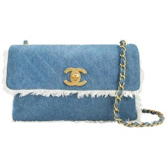 9fad9b1ced52 Chanel Classic Flap Vintage Fringe Quilted Jumbo Maxi Jean Blue Denim Bag