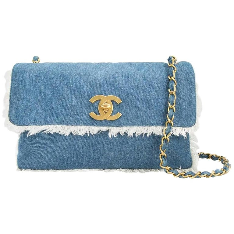 658dfd4683fa Chanel Classic Flap Vintage Fringe Quilted Jumbo Maxi Jean Blue Denim Bag  For Sale