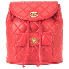Chanel Backpack Ultra Rare Duma Vintage Red Lambskin Leather Rucksack Backpack