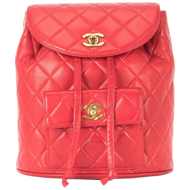 a2472a9d00 Chanel Backpack Ultra Rare Duma Vintage Red Lambskin Leather Rucksack For  Sale