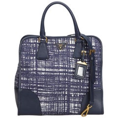 Prada Blue Navy Wool Fabric Satchel Italy w/ Dust BagAuthenticity Card