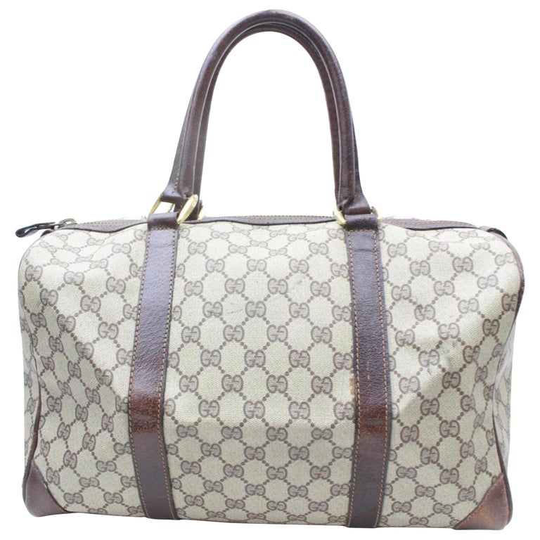 06ee1b60e78b7c Gucci Boston Large Supreme Gg Monogram 869147 Brown Coated Canvas Satchel  For Sale