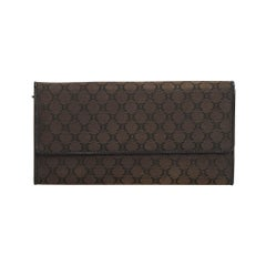 Celine Brown Dark Brown Jacquard Fabric Macadam Long Wallet France