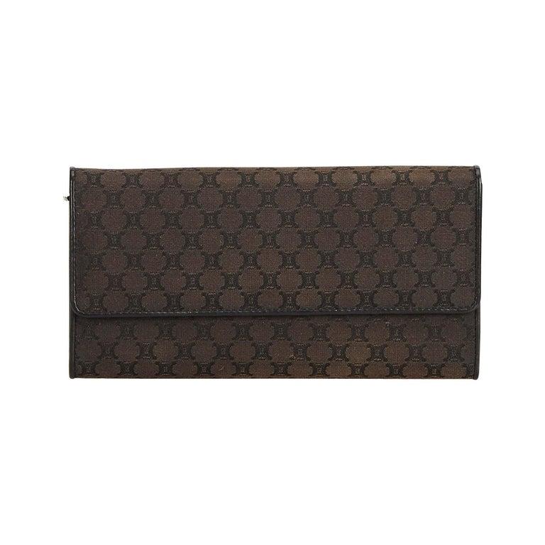 Celine Brown Dark Brown Jacquard Fabric Macadam Long Wallet France For Sale
