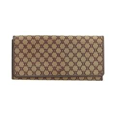 Celine Brown Light Brown Jacquard Fabric Macadam Long Wallet France