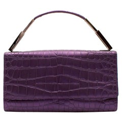Gianni Versace Purple Embossed Clutch