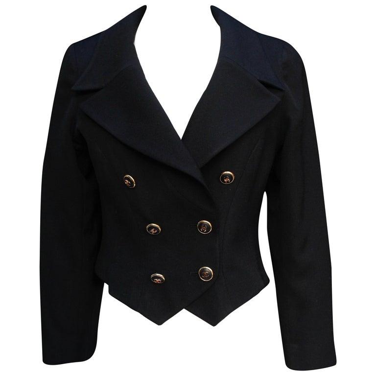 Chanel black cotton short jacket, 1990's   For Sale