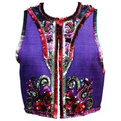 1991 Yves Saint Laurent gorgeous purple linen bolero with sequin embroideries