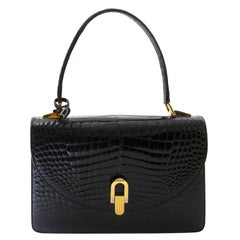 Delvaux Black Croco Handbag