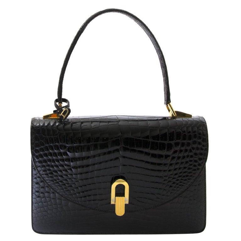 Delvaux Black Croco Handbag For Sale