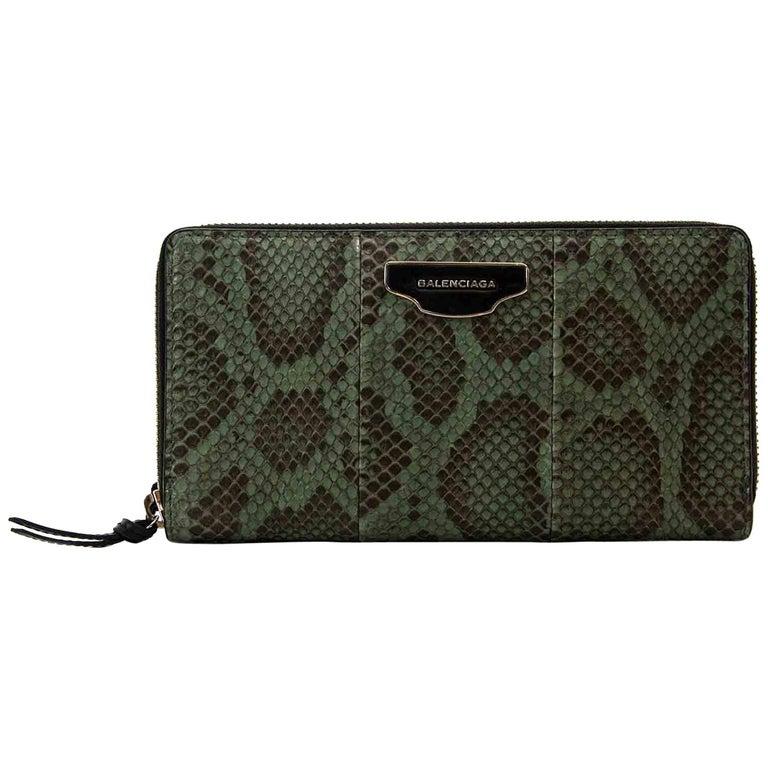 5608ccaac37d Balenciaga Green Python Zip Around Wallet For Sale at 1stdibs