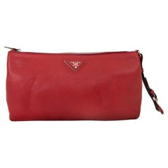 Prada Red Leather Clutch