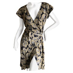 Just Cavalli Roberto Cavalli Golden Japanese Ginko Leaf Print Wrap Dress NWT