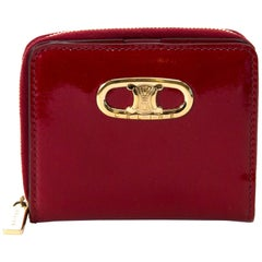 Céline Ruby Patent Leather Zipped Multifunction Wallet