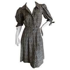 Yves Saint Laurent Rive Gauche Vintage 70's Silk Polka Dot Day Dress