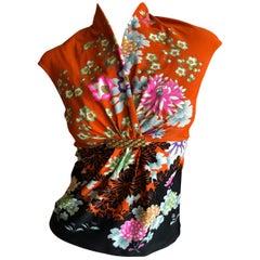 Roberto Cavalli Spring 2003 Silk Cheongsam Style Floral Top w Crystal Gold Trim