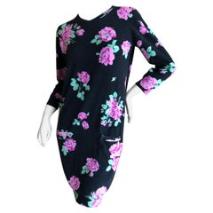 Leonard Paris Vintage Luxurious Knit Floral Dress with Two Pockets