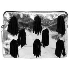3.1 Phillip Lim 31 Minute Suede-Fringed Metallic Leather Clutch